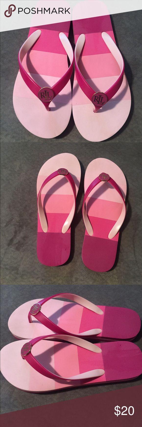Ralph Lauren women Flip flops. Ralph Lauren ladies flip flop. Size 7-8. Only tried on in the house. Excellent condition.Fushia,pink , and white . Ralph Lauren Shoes Sandals
