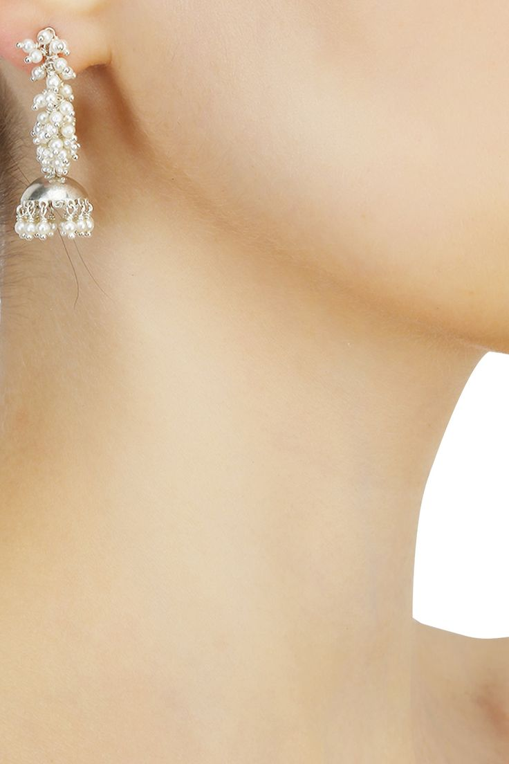 Silver finish cluster seed pearls jhumkis open hoop earrings available only at Pernia's Pop Up Shop.