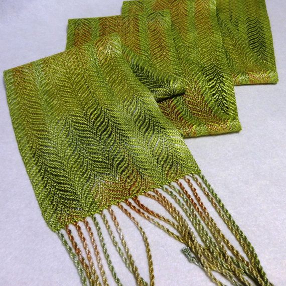 Handwoven Tencel Scarf - Hand Dyed Woven Scarf - Forest Scarf - Chartreuse Scarf