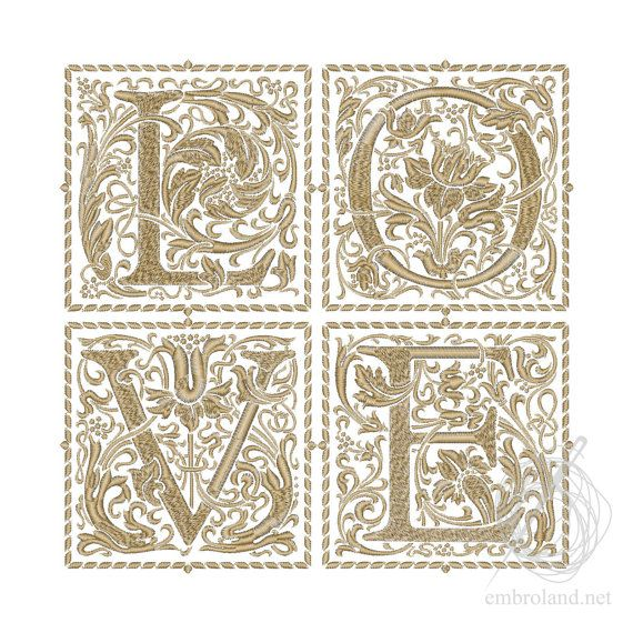 LOVE Embroidery File Text Embroidery designs