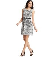 """Scroll Floral Print Piped Waist Dress - Channel vintage allure in a fetchingly printed style that's cinched at the waist for gorgeous shaping. Square neck. Sleeveless. Pleated beneath grosgrain waistband. V-back. Hidden back zipper with hook and eye closure. Lined. 21"""" from bottom of waistband."""