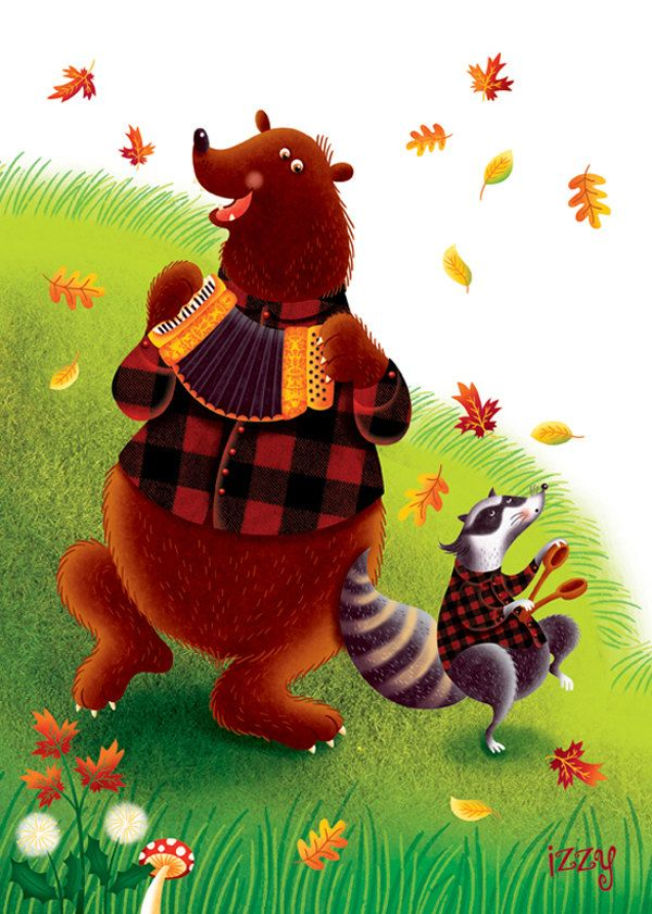 The Lumberjack Song part 1, black and red buffalo plaid, plaid art print, animals, dance, party, forest, moose, bear, fox, fall, music by IzzyWhimsyArt on Etsy