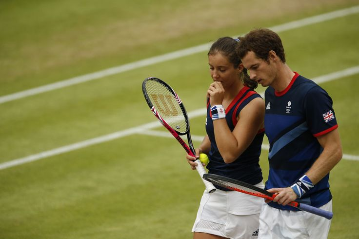 British mixed doubles partners Andy Murray and Laura Robson discuss tactics during their gold medal match with Victoria Azarenka and Max Mirnyi of Belarus