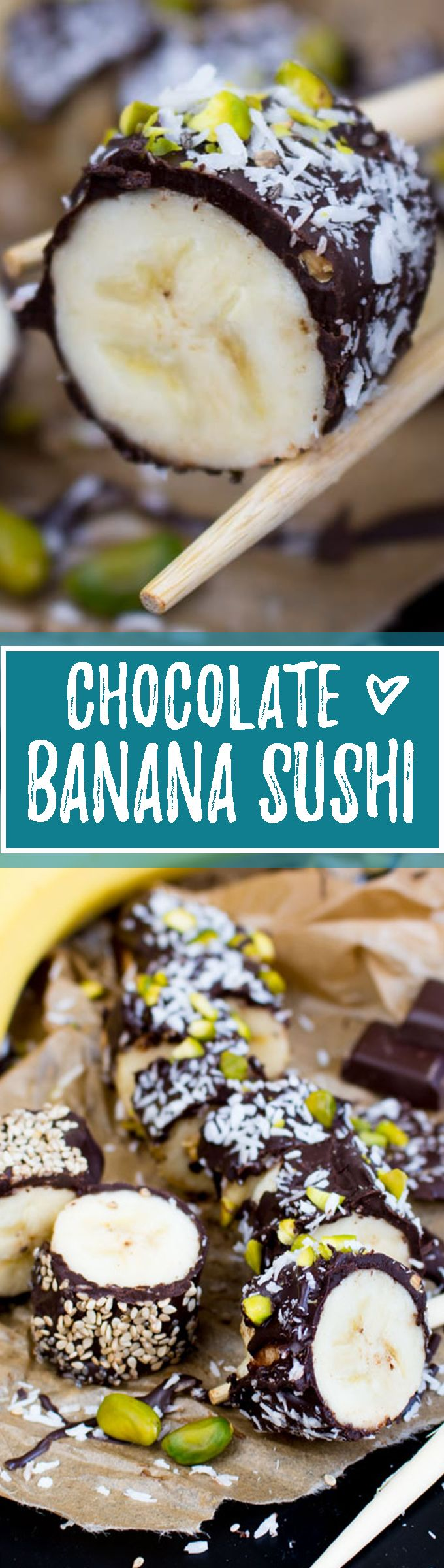 This banana sushi is covered in chocolate and topped with pistachios, coconut flakes, chia and sesame seeds. The recipe is super easy. No rolling required! The perfect vegan snack. <3 | veganheaven.org