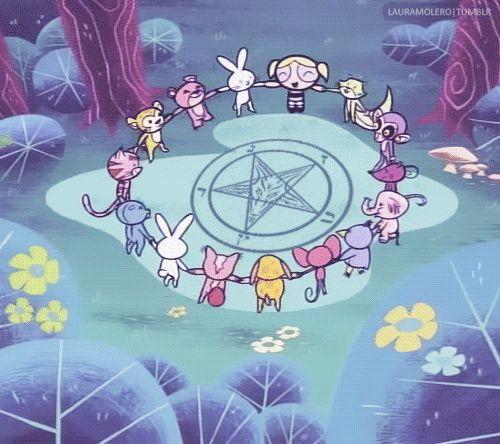 Ring-a-ring o' roses. A pocket full of posies. A-tishoo! A-tishoo! We all hail Satan.
