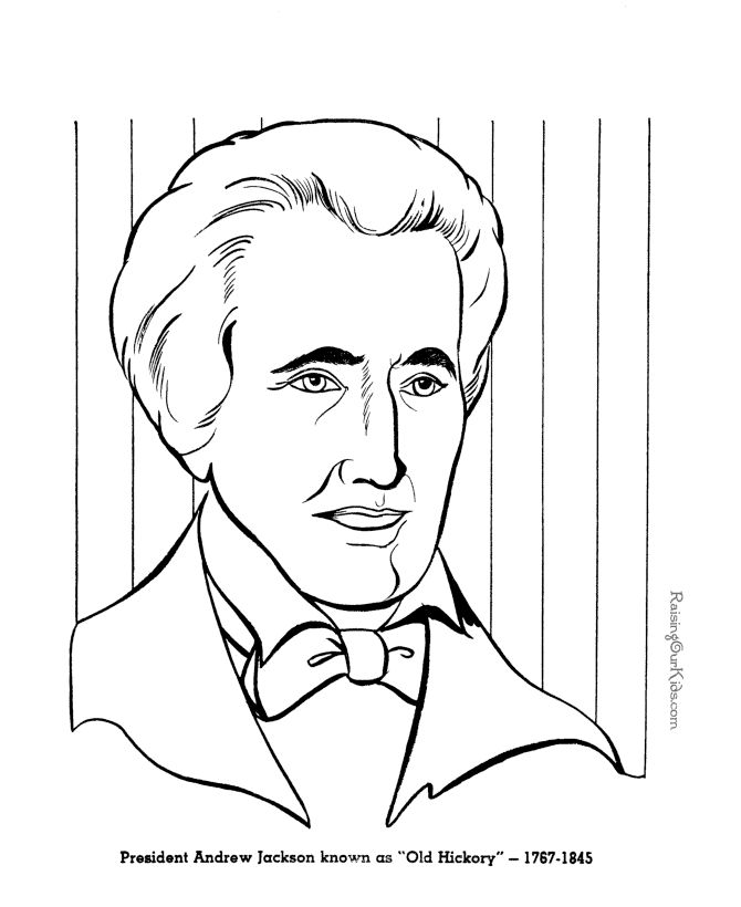 Free Printable President Andrew Jackson Coloring Pages
