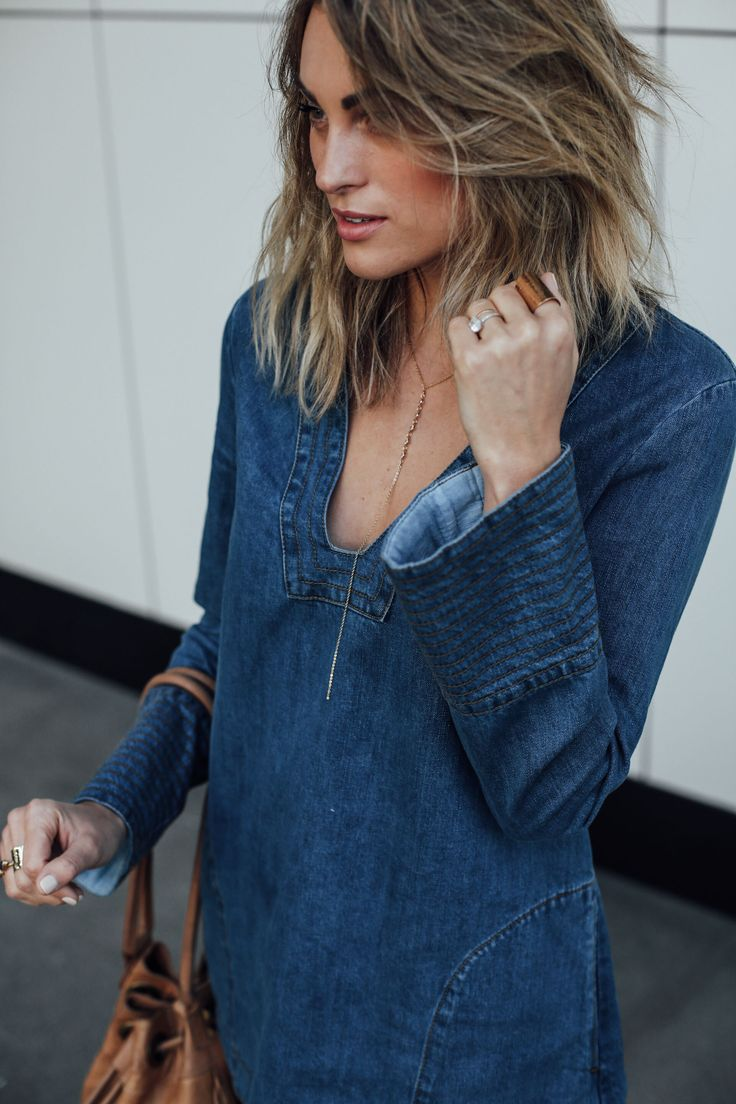 Free People Denim Tunic | Short Hair | Palms to Pines