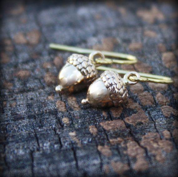 Gold Acorn Earrings  Gardener & Naturalist Gifts by sevgijewelry