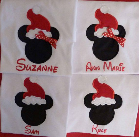 Beautiful Disney Christmas Party Ideas Part - 14: Christmas Santa Minnie Or Mickey Tee Shirt Personalized Tshirt Size 2t Thru  16
