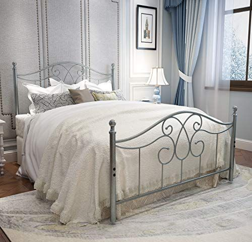 Yerperfo Vintage Sturdy Metal Bed Frame Full Size With Vintage