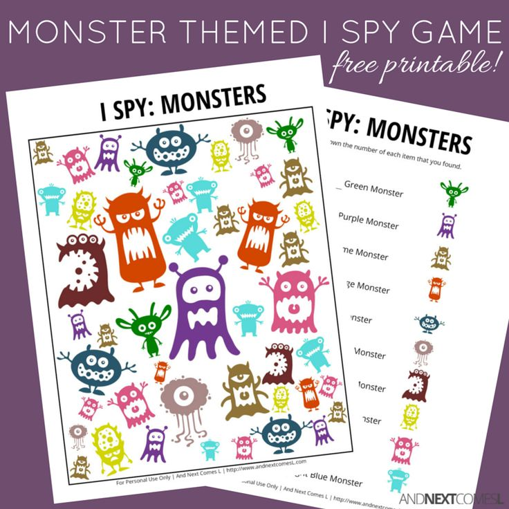 Free printable monster themed I Spy game for kids from And Next Comes L