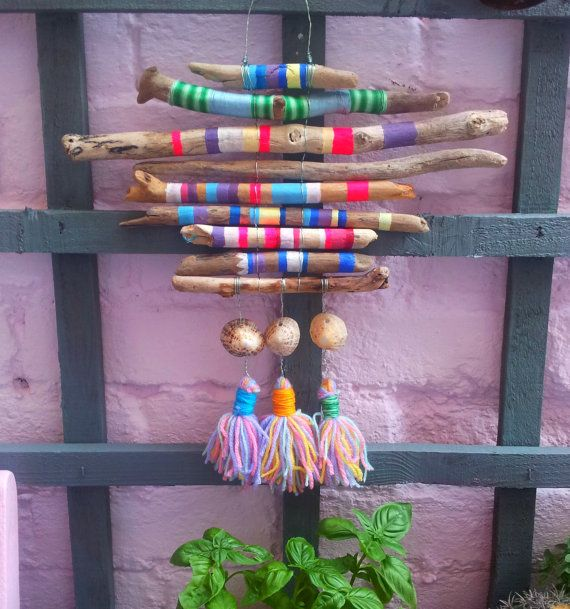 Hand painted Beach Driftwood Dreamcatcher Textile Wall hanging Boho Hippie Ibiza Garden