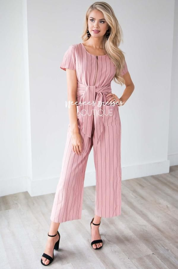 18edf2e2a41 The Sascha Striped Tie Front Jumpsuit in 2019
