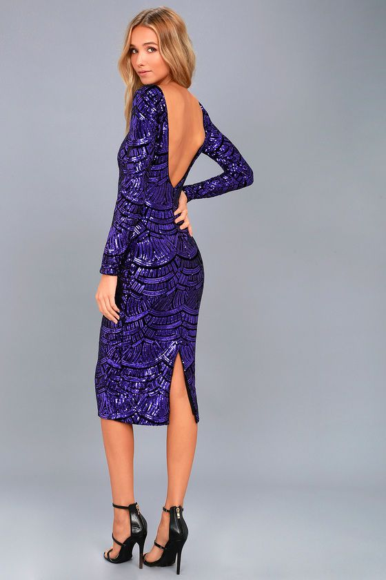 Plus Size Purple Sequins Split Midi Dress