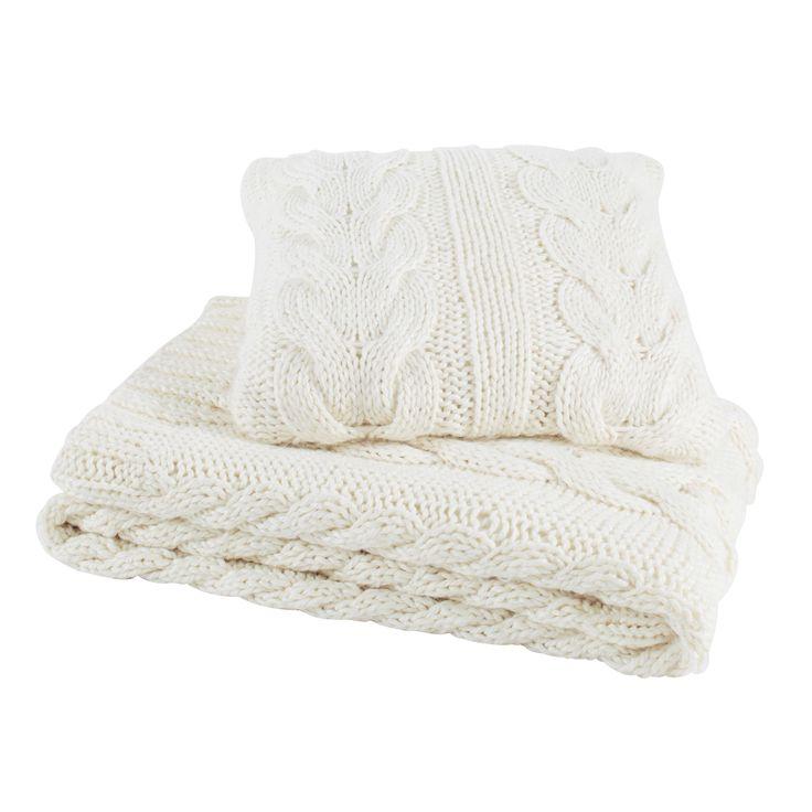 Cuscino bianco ghiaccio in tessuto lavorato a maglia 50 x 50 cm OSLO