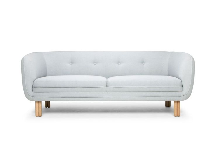 Raven Modern 3 Seater Designer Sofa - Light Grey/Oak Legs