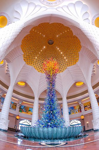 Atlantis, The Palm, Dubai, UAE: Dale Chihuly Sculpture in the lobby