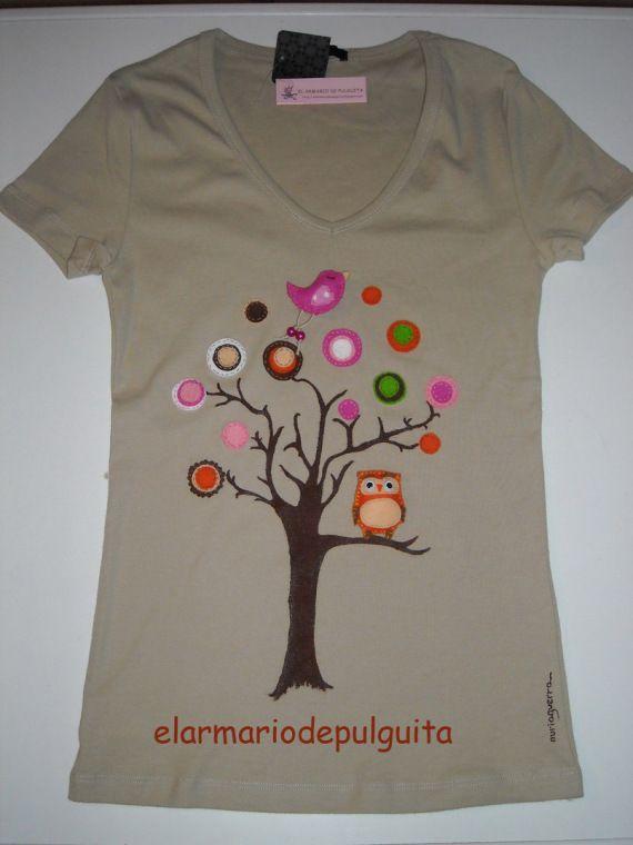 """Camiseta """"El arbol de la vida"""" / EL ARMARIO DE PULGUITA - Artesanio"""