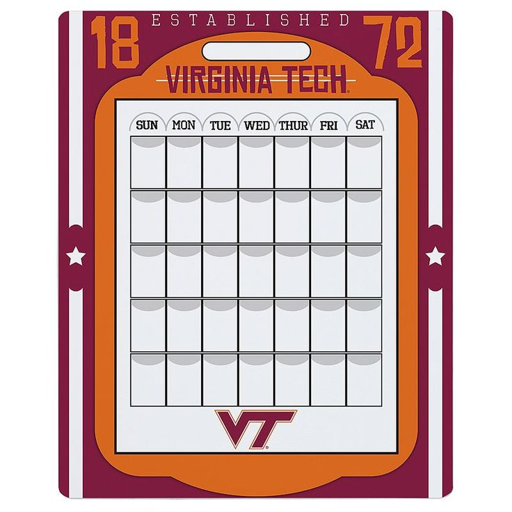 Virginia Tech Hokies Dry Erase Calendar, Multicolor