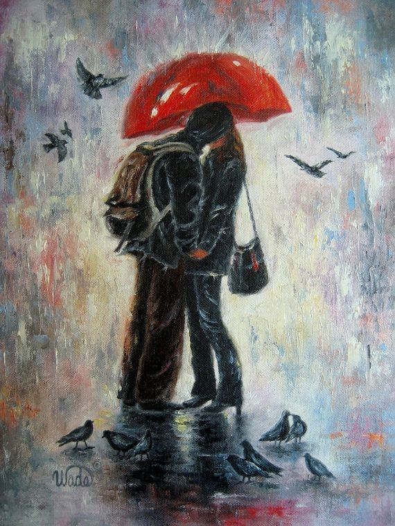 Kiss in the Rain Print lovers kissing red by VickieWadeFineArt