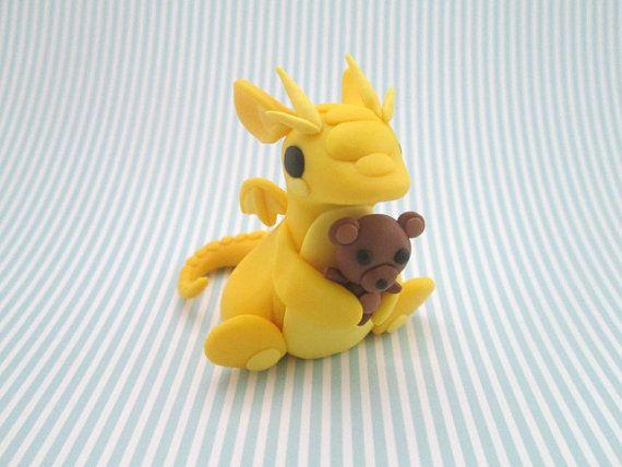 Dragon with a Teddy Bear by KriannaCrafts on Etsy