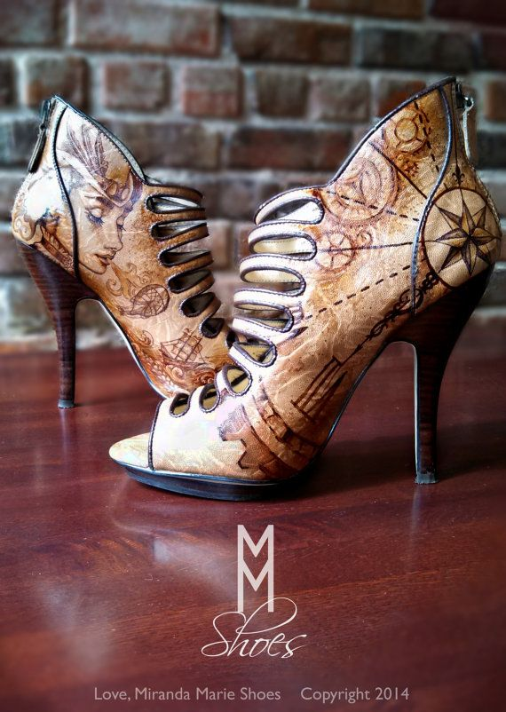 Hand painted steampunk shoes by Miranda Marie.
