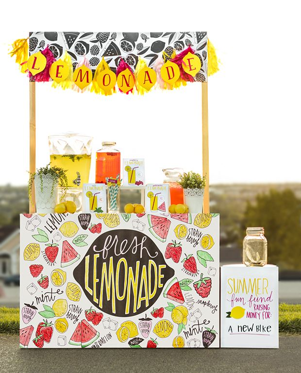 DIY Printable Lemonade Stand - Kids Can Color In The Fruit