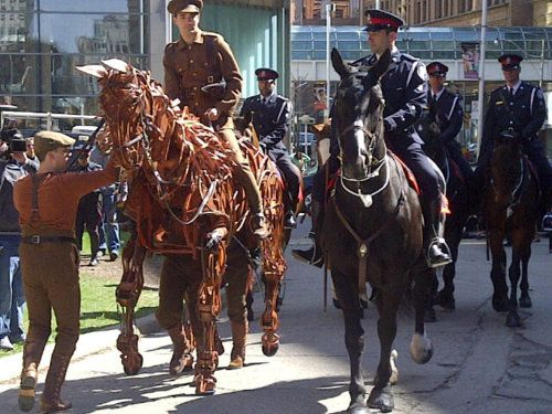 Warhorse.  Joey' and horses from the Toronto Mounted Police Unit arrive at the commemorative Ceremony today, Old City Hall, Toronto, to mark 95th Anniversary of the Battle of Vimy Ridge