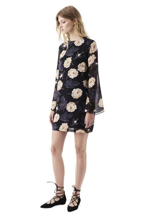 Allen Georgette Dress, Ivory Rose