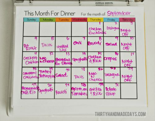 Monthly Meal Planner.  I love this FREE printable.  Put it in a frame and you can use it month after month.  Just use a dry erase marker and wipe clean.