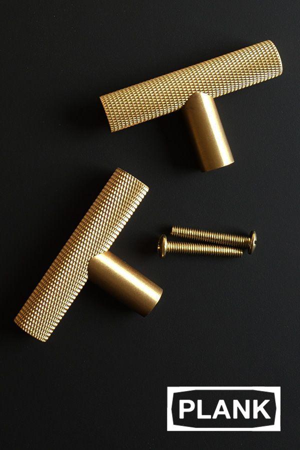 Knurled T Bar Solid Brass Handles Brass Handles Gold Door