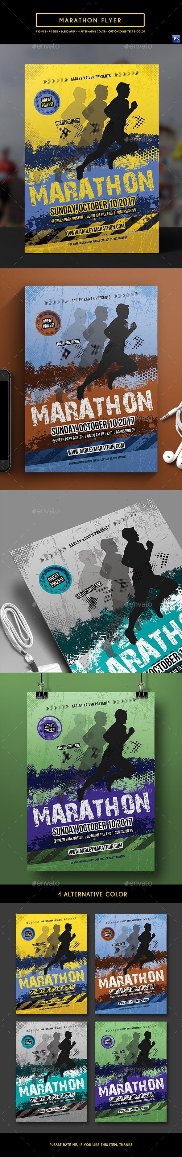 Marathon Event Flyer Template PSD. Download here: https://graphicriver.net/item/marathon-event-flyer/17405088?ref=ksioks