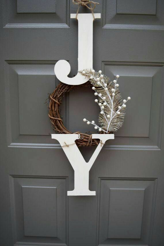 Brown Dry Branches Joy Letter Wreath For Front Door On Christmas #christmasdecordiy #christmascrafts
