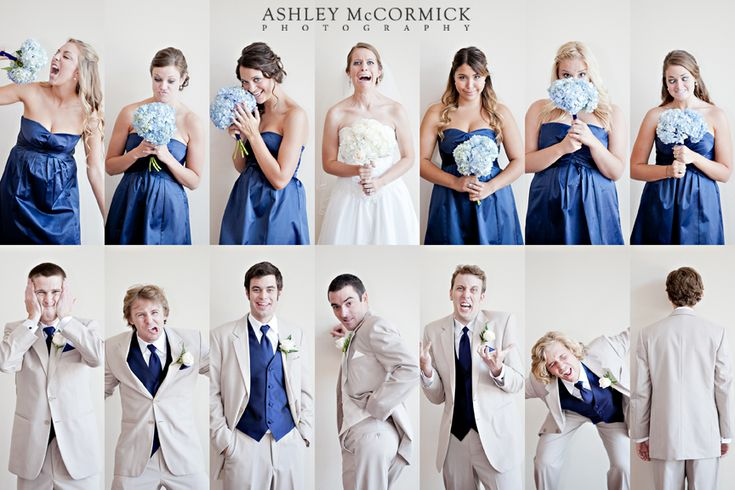 Personality shots of bridal party. Such a good idea!: