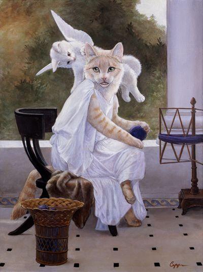 "Melinda Copper  ~  ""Mewsings""  (original painting Work Interrupted by Bouguereau)"