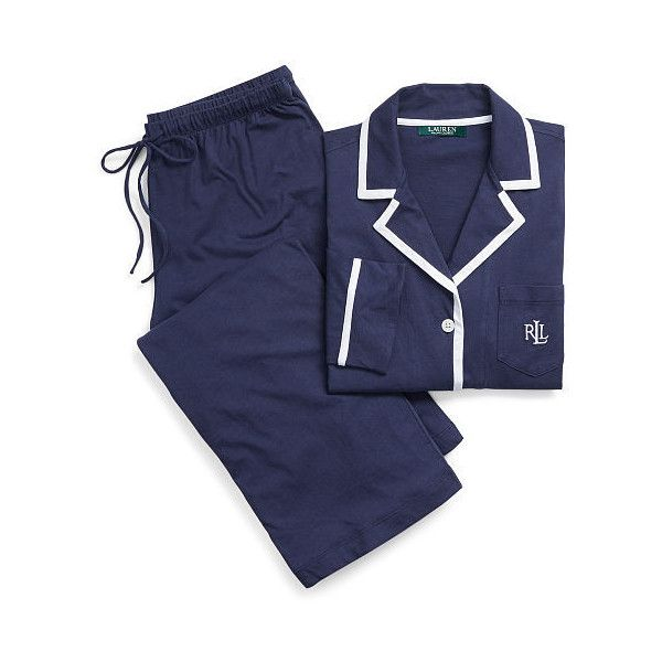 Ralph Lauren Lauren Pima Cotton Sleep Set ($79) ❤ liked on Polyvore featuring intimates, sleepwear, pajamas, ralph lauren pajamas, long sleeve sleepwear, ralph lauren sleepwear, long sleeve pyjamas and pima cotton pajamas