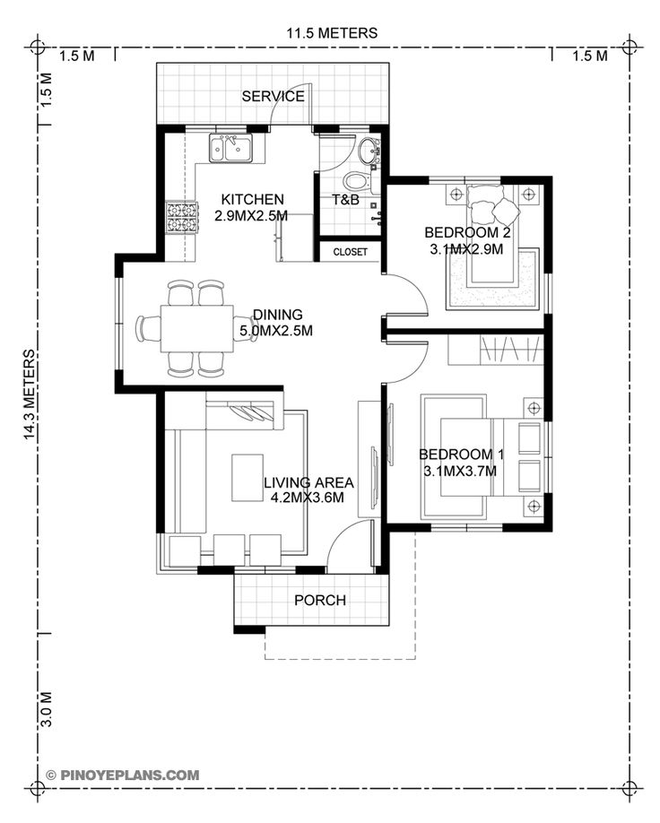 Katrina Stylish Two Bedroom House Plan Two bedroom