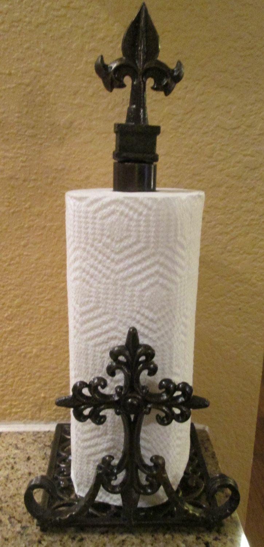 Iron Paper Towel Holder. Original. Old World Tuscan Kitchen Medieval French Gothic Elegant Home Decor by fleurdelisjunkie on Etsy