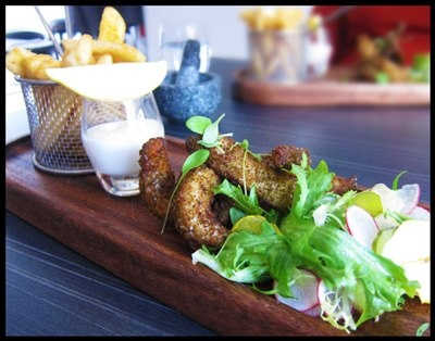 Ah-mah-zing chips (with herb crusted fish) at Rogue Bistro + Bar in Newstead.