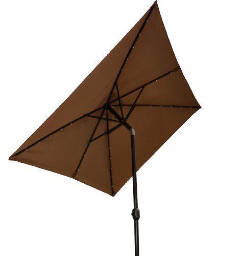 camel 10 39 x6 5 39 outdoor 26 led lights patio solar umbrella rectangle. Black Bedroom Furniture Sets. Home Design Ideas