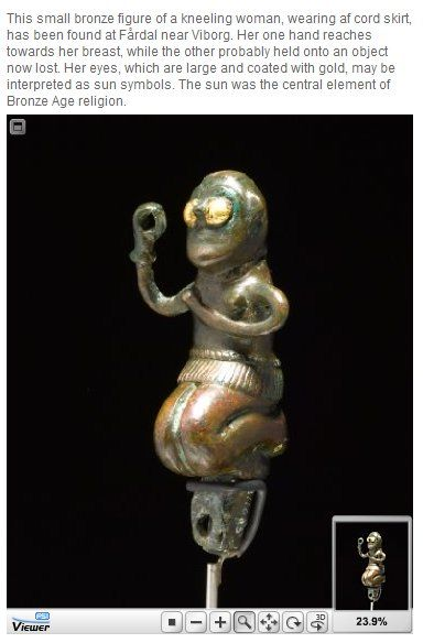 Nordic bronze figurine, according to the text, it is from bronzeage Denmark