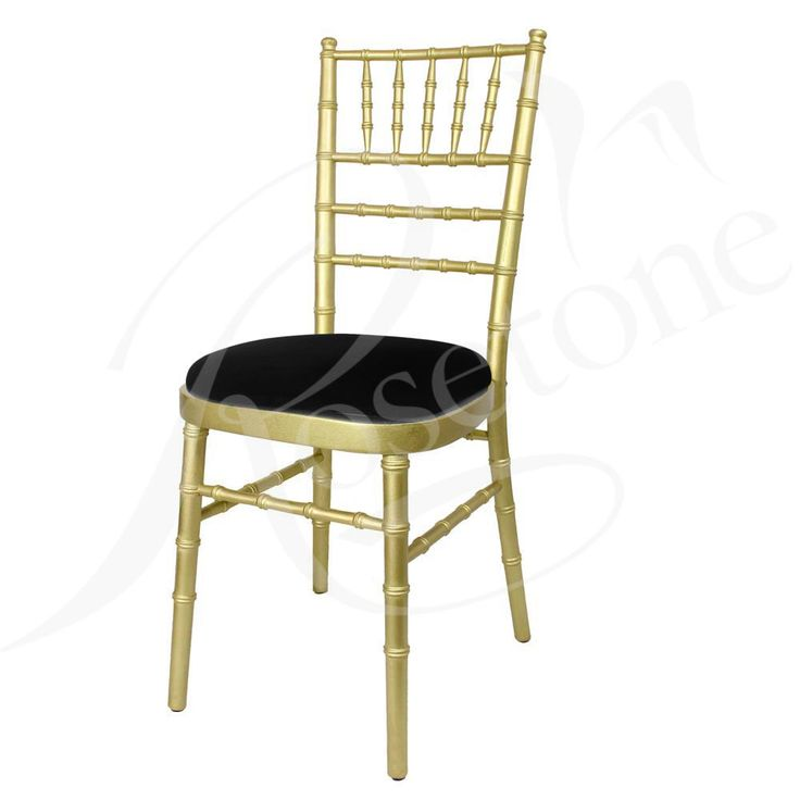 Gold Chiavari with Black Seat Pad. Popular Gold Wedding Chair Black and Gold Theme