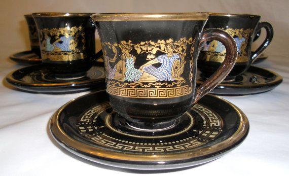 Hand Made Greek 24k Gold Accent Black Tea Cup Amp Saucer Set