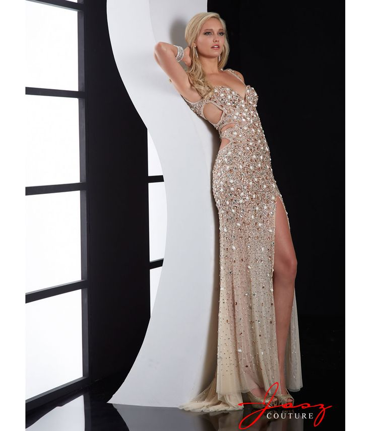 1920s prom dress: Jasz Couture 2014 Prom Dresses - Nude Beaded Cut Out Prom Dress $538.00   #1920sprom #greatgatsby #prom