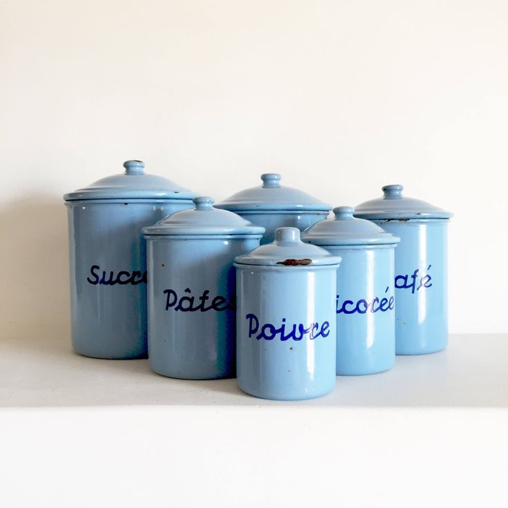 French Vintage Enamel Canisters   French Kitchen Canisters   French  Enamelware Canisters   Vintage Canister Set