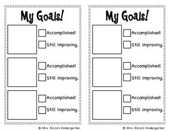 This checklist makes setting and tracking goals simple for kids! Give each student a goal sheet weekly/monthly. Have students choose 3 goals from the picture sheet, then cut and paste their goals onto their goal sheet. At the end of the week or month have students check off whether they accomplished the goal or still need to work on it. Then they will choose new goals for the next month.   You could have students tape their goal sheet to their desk or keep it in a folder. (Adapt for art)