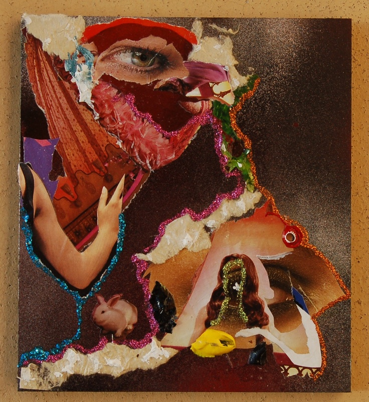 (work in process) mixed media collage, 2012. temporary title: white rabbit