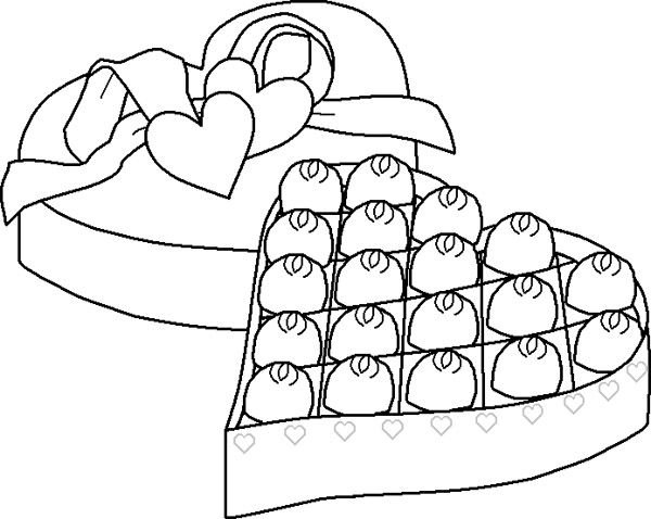 An Open Box Chocolate Coloring Page