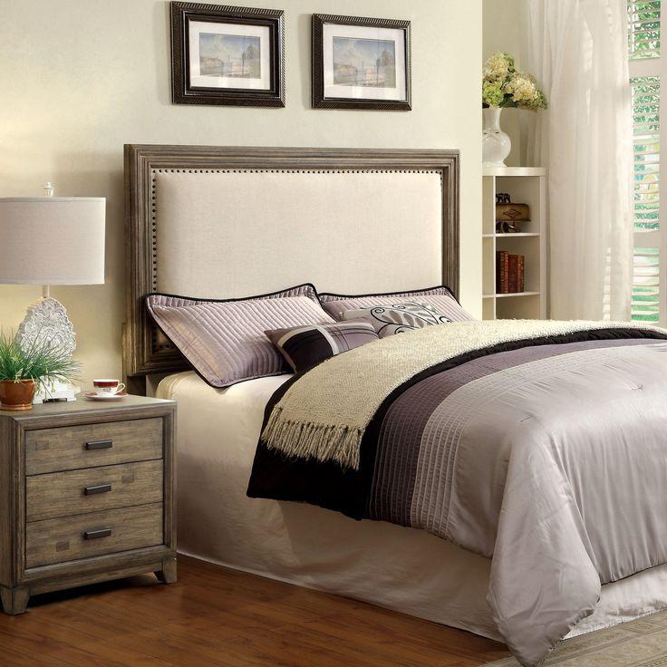 Furniture of America Arian Rustic Grey Upholstered Headboard (Cal. King), Brown, Size California King