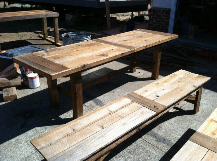 extra long dining table benches from homemade diy custom reclaimed. Black Bedroom Furniture Sets. Home Design Ideas